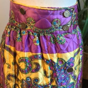 Vintage Quilted Button-Down Handmade Skirt